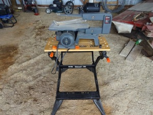 "Craftsman 16"" scroll saw with Black and Decker workbench"