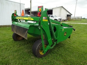 "2007 John Deere 530 Mo-Co mower conditioner 9'6"", SN E00530T330747, one owner, in very good condition."