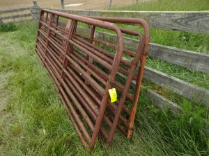 Two 14ft AND two 16ft metal gates, all are bent and have rust damage.