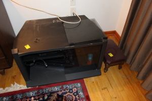 TV stand, bluray player, VHS/DVD player, footstool