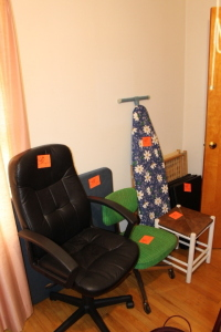 Office chairs, table, ironing board, pad, safety gate, stool