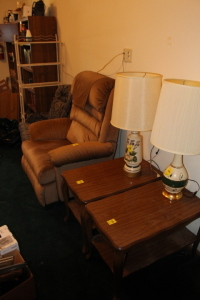2 end tables, recliner, chair, metal shelf & lamps