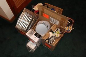 Pots, pans, heater, extension cords, blanket, Keizer watch, misc.