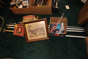American flags, flag poles, Alabama clock, painting, misc.