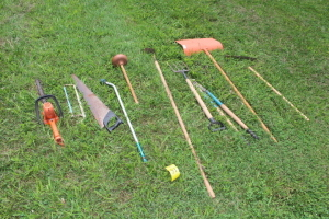 Weed wacker, shovel, limb trimmers, pitch fork, hoe, hand saws, electric trimmers