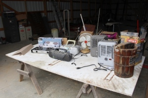 2 Utility Heaters, Sylvania Burner, 2 Radios, Fan, and Ice Cream Maker