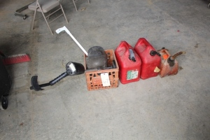 3 Gas cans, Welding Hood, Metal Detector, Milk Crate, and Misc.