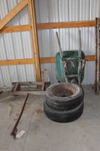 Wheelbarrow, tires, and two wheel cart