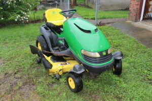 "John Deere 18 hp V-twin spin steering, riding lawnmower, 48"" deck, 48C convertible"