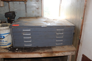 5 shelf metal cabinet/bolt bin