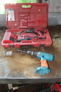 Makita Battery Powered Drill, Milwaukee Battery drill with cahrger and case