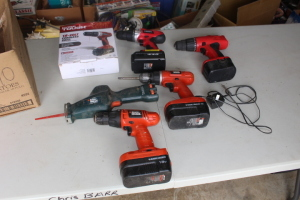 Hyper Tough 18 volt drill, 2 black and decker 18 volt drills, battery drill, saw