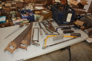 Various handsaws, wedges, light casing, shears, misc.