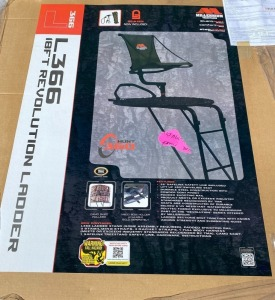 7th Grade - Mrs. Hart's Class: Millennium L366 18' Premium Ladder Deer Stand Includes padded shooting rail, 2 stabilizing straps, 3 rachet straps, 1 full body harness, camo skirt, 1 safelink treestand safety line, hardware and instructions $400 value