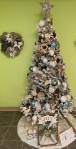 Preschool - Ms. Meador's and Pre-K Mrs. Bostrom's Classes: Neutral Christmas Tree with Ornaments, Tree Skirt, Joy Décor, Ribbon, Wrapping Paper, Little Deer Sign, Star on Top and Wreath