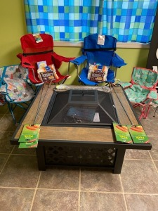 Kindergarten - Mrs. Critchelow's Class: Square Fire Pit, 2 Bag Chairs, 2 Kids' Bag Chairs, $25 Darden Restaurant Gift Card, Smores Kits, 4 Camp Forks