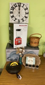 4th Grade - Mrs. Rothrock's Class: Kitchen Aid Blender, 2 (16) Piece Dinnerware Sets, Clock, Wire Basket, Iron Skillet w/ Lid, Metal Recipe Box, Small Spile Jars
