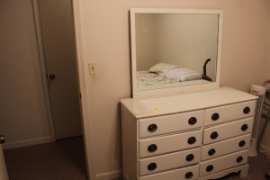 Dresser with mirror, and bed frame