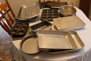 Cake pans, baking pans, and misc.
