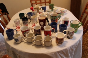 Assorted coffee mugs
