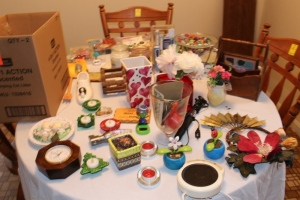 Candle warmer, flower pots, clock, Precious Moments plate, electric toothbrush, and misc.