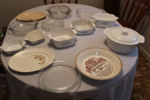 Fire King dish, 2 bowls with lids, 5 Corningware, and other assorted