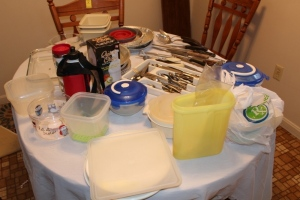 Silverware, knives, spoons, Pyrex dish, Quick Chopper, and misc.