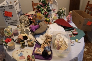 Angel statue, statue, placemats, snow globe, figurines, and misc.