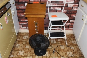Stool, fan, and wooden potato box