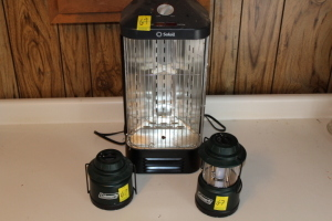 2 Coleman battery powered extendable lanterns, Fan-Forced electric Quartz Heater, (2) 750 watt heat lamps