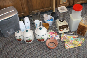 3 stone jars with lids, Osterizer blender, Office Max paper shredder, glass pitcher, gardening supplies, glassware, and misc.