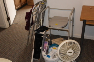 Walkers, foot spa, fan, and misc.