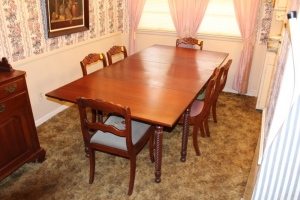 Double Drop-leaf cherry table with 6 chairs