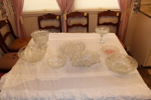 Assorted cut glass serving dishes