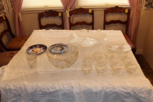 Punch bowl , serving tray, plates, and Mikasa serving tray