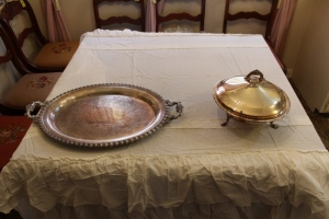 Wilcox International silver company platter and serving dish