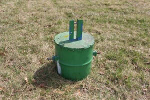 3 pth  metal barrel filled with concrete for back weight for tractor
