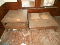 (2) Oak tables and (2) cutting boards
