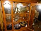 Contents of china cabinet; china platter, glass fruit and salad bowls