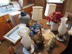 6 Lamps, pitcher, clock and miscellaneous